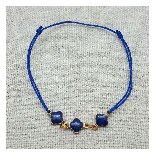Bracelet lien coton et motifs émaillés bleus