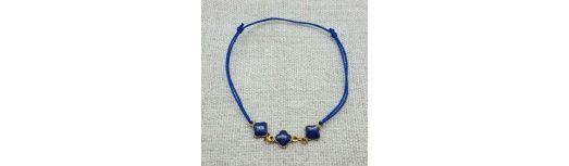 Bracelet lien coton et fleurs émaillées