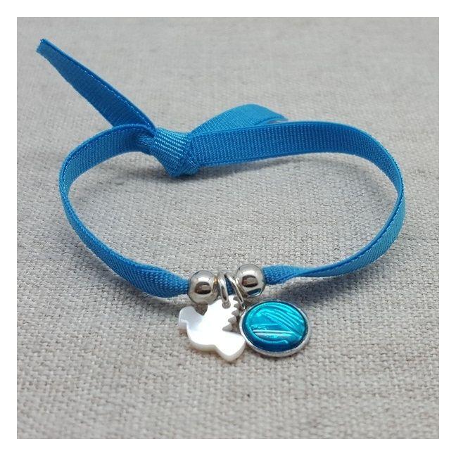 Bracelet religieux colombe en nacre et médaille vierge bleue sur lien elastique