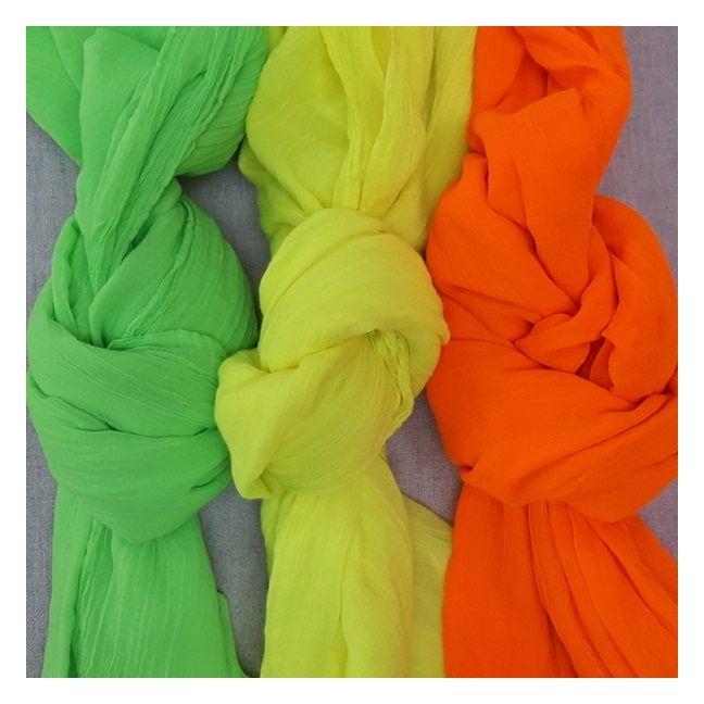 foulard voile de coton fluo uni