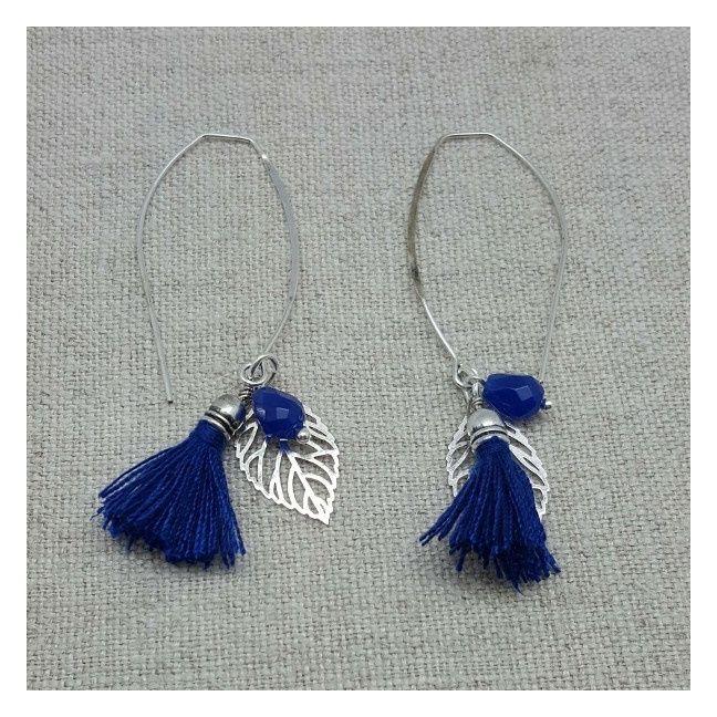 Boucle d'oreille argenté pompon et feuille coloris bleu vif