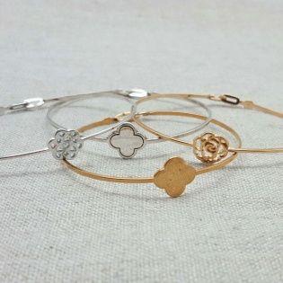 Bracelet jonc motif fin Argent ou Plaqué Or