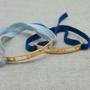 Bracelet barrette motif géométrique plaqué Or monté sur lien élastique