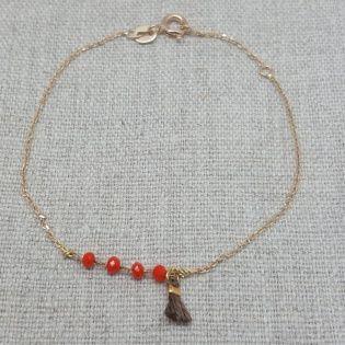 Bracelet chaine boule colorée orange avec pompon et chaîne fine plaqué Or