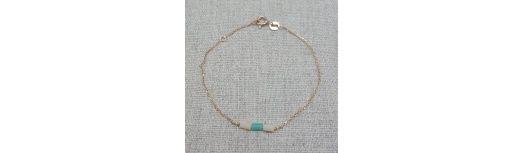 Bracelet chaîne plaqué Or ou Argent et perles tubes colorées