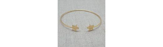 Bracelet jonc motif étoile Plaqué Or