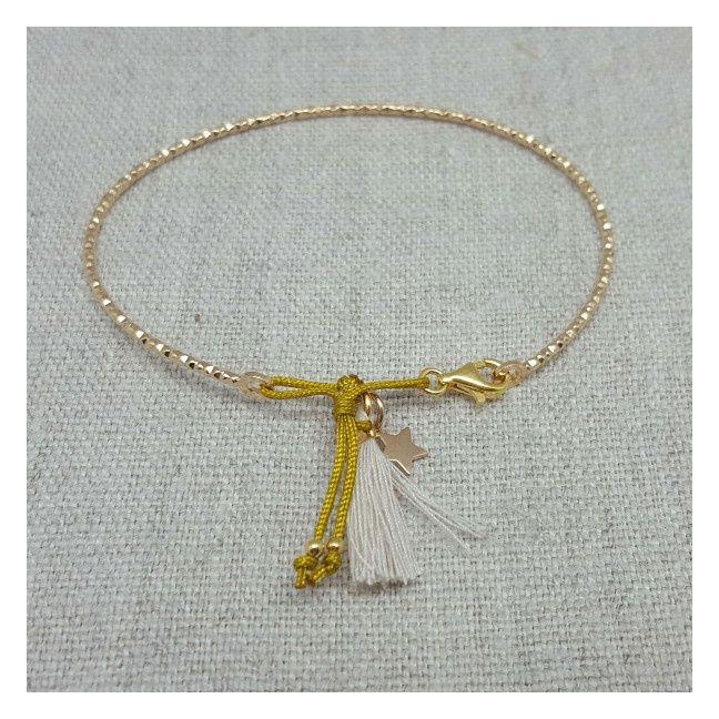 Bracelet jonc pompon Argent ou Plaqué Or