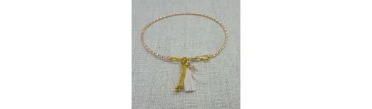 Bracelet jonc irisé Plaqué Or et pompon