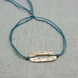 Bracelet motif ovale perlé ou martelé