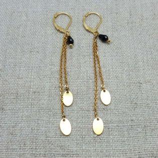 Boucles d'oreilles chaînes pendantes Plaqué Or