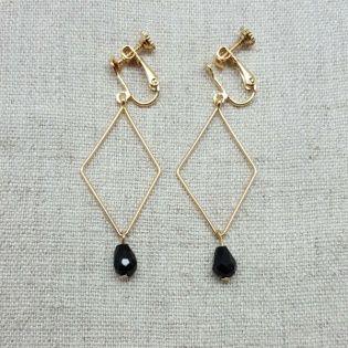 Boucles d'oreilles motif losange et perle colorée