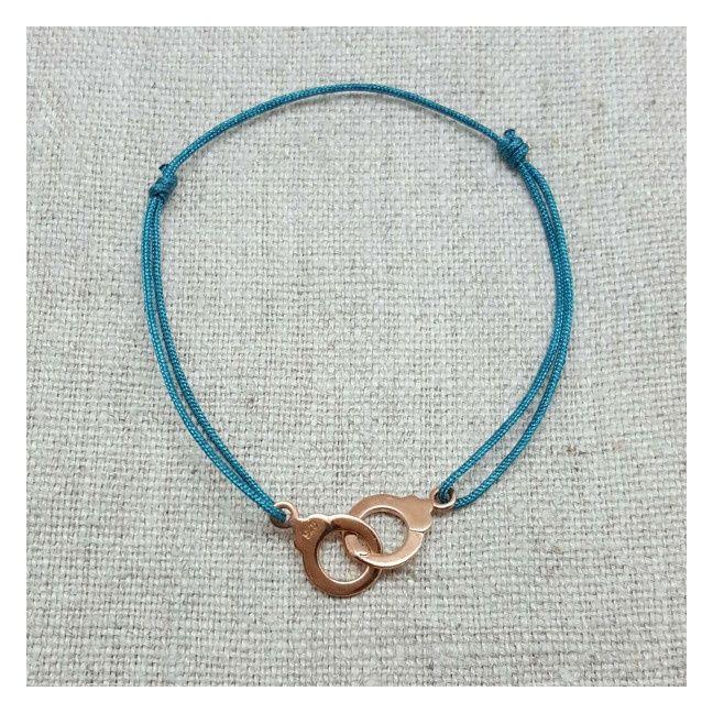 Bracelet menottes Argent ou Plaqué Or lien satiné