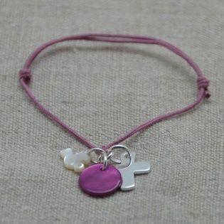 Bracelet religieux croix argent ou plaqué Or sur lacet