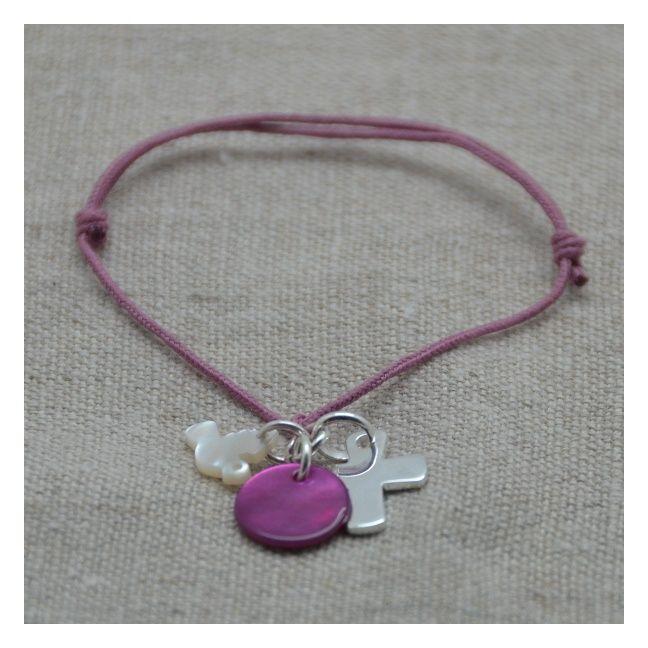 Bracelet religieux croix argent sur lacet