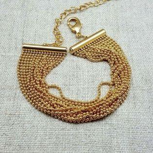 Bracelet multi rangs chaîne boules Plaqué Or