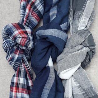 Foulard coton imprimé carreaux