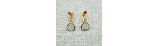 Boucles d'oreilles dormeuse clip ou percée pierre sertie