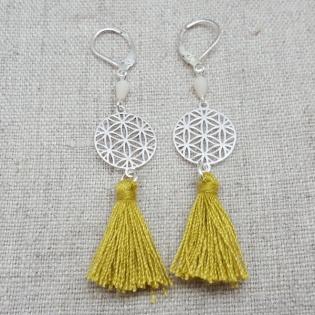Boucles d'oreilles arabesque mandala et pompon argent