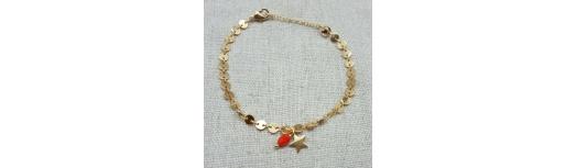 Bracelet chaîne pastilles plaqué Or breloque étoile