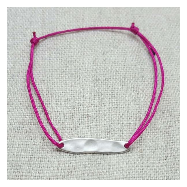 Bracelet lien coton, tige martelée plaqué Or ou argent