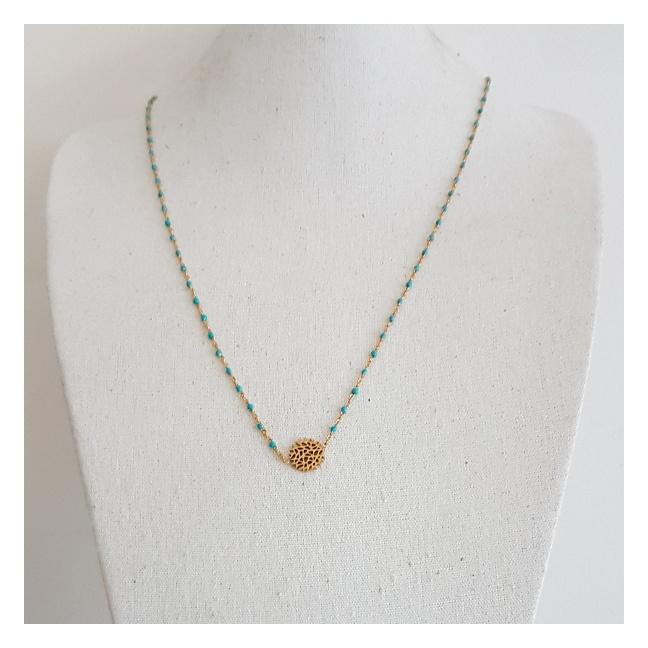 Collier long chaîne plaqué Or perles résines