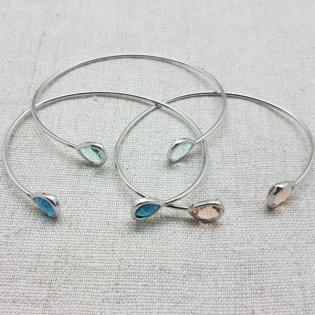 Bracelet jonc ouvert pierre colorés Argent