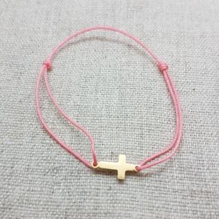 Bracelet croix ou arbre de vie doré sur lien fin