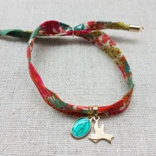 Bracelet breloque Plaqué or et medaille vierge turquoise