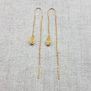 Boucles d'oreilles double tiges pendantes plaqué Or