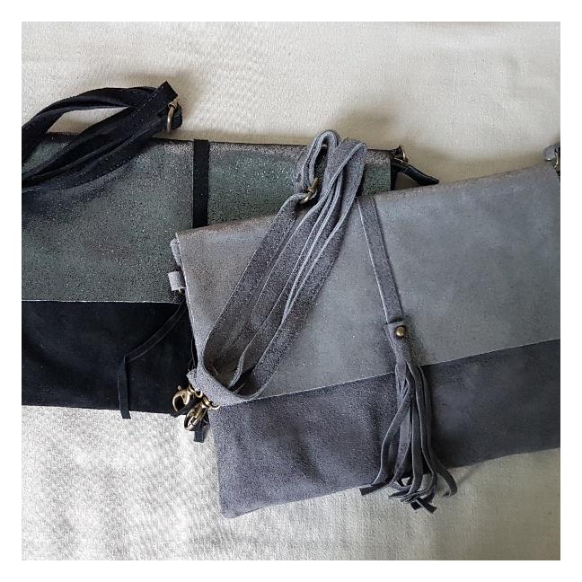 Sac rabat irisé bandoulière noir ou gris