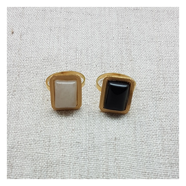 Bagues pierre naturelle carré et acier inoxydable