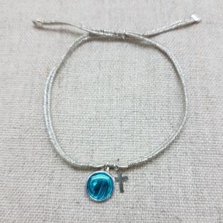 Bracelet lien argenté croix et médaille