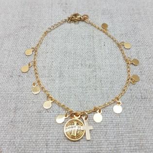 bracelet chaîne pastilles breloques plaqué Or