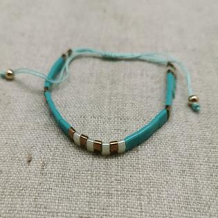 Bracelet perles plates naturelles