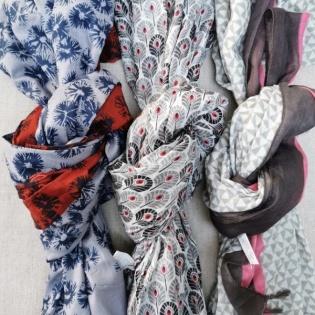 Foulard coton imprimé gris