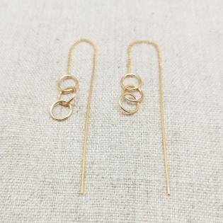 Boucles d'oreilles 3 anneaux et tiges pendantes plaqué Or