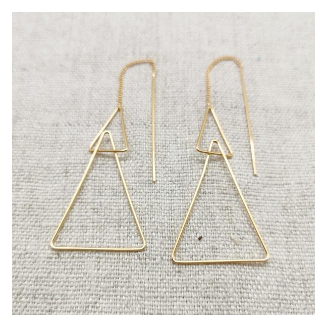 Boucles d'oreilles triangles et tiges pendantes plaqué Or