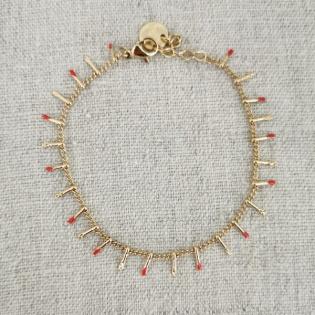 Bracelet chaîne et mini gouttes colorées