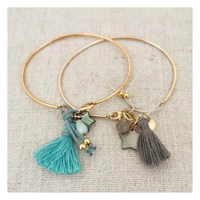Bracelet jonc pompon et breloques Argent ou plaqué Or