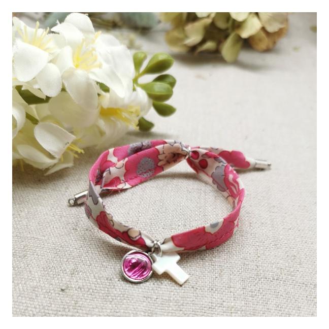 Bracelet religieux lien liberty croix nacre et vierge émaillée rose