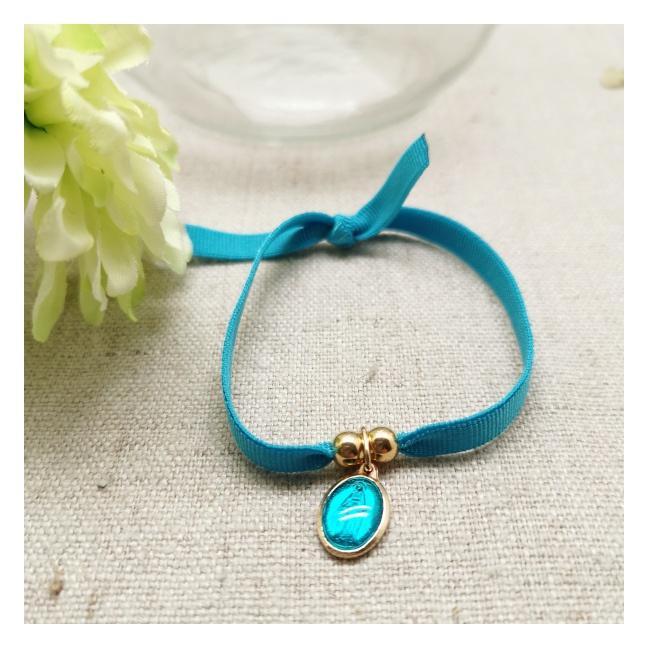 Bracelet religieux médaille miraculeuse ou croix émaillée sur lien elastique ajustable rose