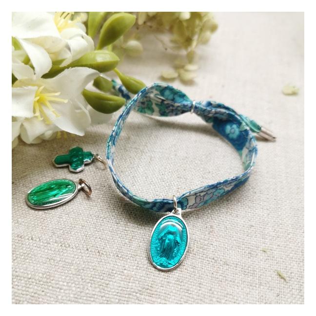 Bracelet religieux lien liberty et médaille miraculeuse turquoise