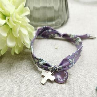 Bracelet religieux croix Argent ou Plaqué Or sur liberty