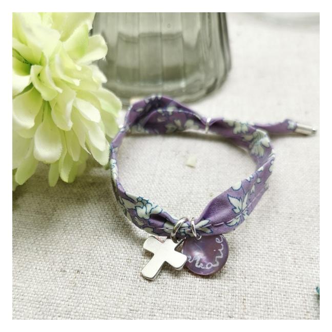 Bracelet religieux lien liberty croix argent et nacre rose