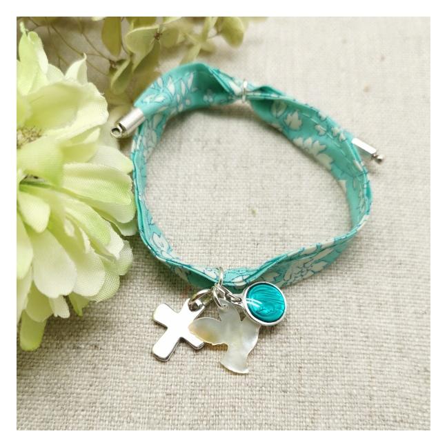Bracelet liberty colombe et croix argent