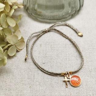 Bracelet lien doré croix et médaille colorée plaqué Or