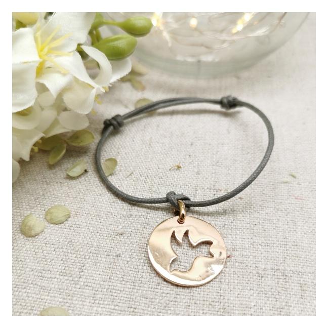 Bracelet cible colombe argent sur lien coton ajustable