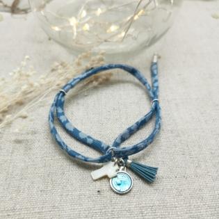 Bracelet religieux lien fin liberty et pompon