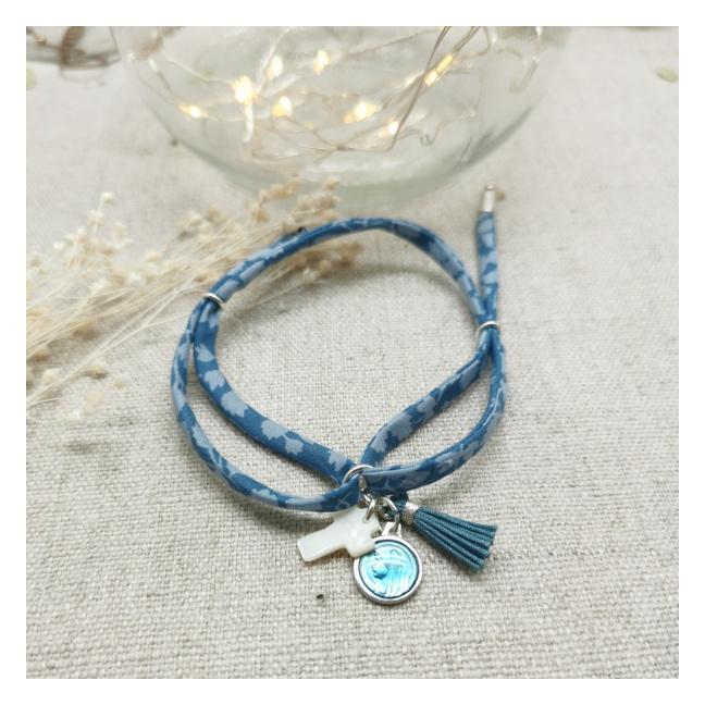 Bracelet religieux lien fin liberty, pompon et vierge émaillée turquoise