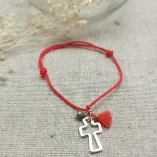 Bracelet religieux breloque Argent et pompon sur coton
